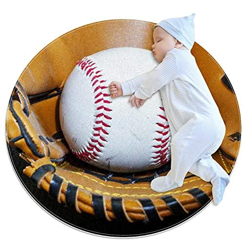 Yumansis Guante de béisbol Alfombra de Dormitorio Suave Redondo Antideslizante Lavable a máquina Alfombras de área Dormitorio Silla Cojín Alfombra Interior 80x80cm
