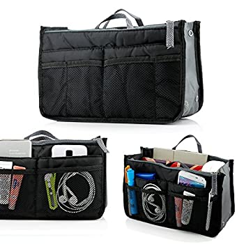 GEARONIC TM Lady Women Travel Insert Organizer Compartment Bag Handbag Purse Large Liner Tidy Bag - Black