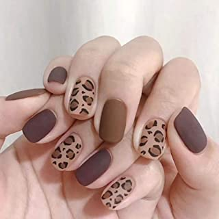 Drecode Punk Matte Fake Nails Leopard Printing Square Full Cover False Nails Fashion Party Clips on Nails for Women and Girls(24Pcs)