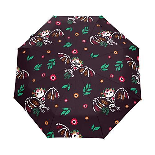 SUHETI Regenschirm Taschenschirm,USA amerikanische Flagge Schädel mit Boxhandschuhen spielt Streifen Unabhängigkeitstag die Hauptrolle,Auf Zu Automatik,windsicher,stabil