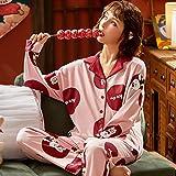 Pijama para Mujer - Cartoon Printed Summer Pjs Sleepwear Suit Turn-Down Mangas Largas Tops Pantalones 2 Piezas Set Long Size Casual Sleep Lounge Nightwear para Adultos Señoras Jogging Homewear Outfi