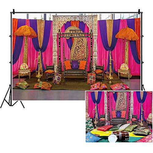 CSFOTO 7x5ft Wedding Backdrop Indian Wedding Ceremony Background for Photography Moroccan Theme Wedding Party Supplies Bridal Shower Decor Banner Baby Shower Banner Photo Backdrop