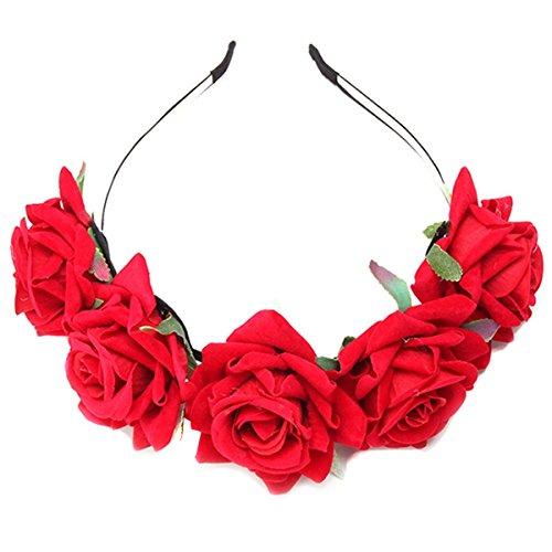 HENGSONG Damen Mädchen Rose Blume Haarreif Blumenstirnband Garland Festival Hochzeit Braut Brautjungfer Haarband Kopfband Kranz (Rot)