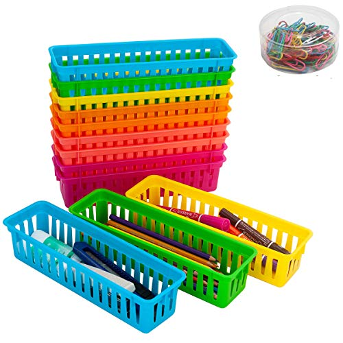 Ctcwsh 12 Pack Pencil Basket Trays Pen holders With 100 Pcs Paper Clips,Colorful Classroom Pencil Marker Crayon Holder Organizer Baskets for Office Organization