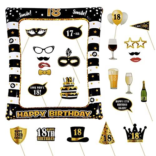 24pz Photo Booth 1pz Foto Frame Gadget 18 Anni Compleanno Decorazioni Festa Ornamenti Accessori Oggetti Fotografica Puntello