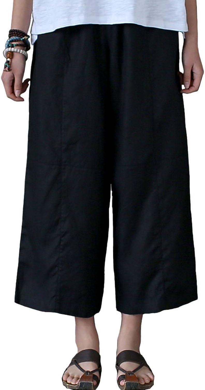 Aeneontrue Women's 100% Linen Capri Pants Casual Patchwork Cropped Trousers with Elastic Waist