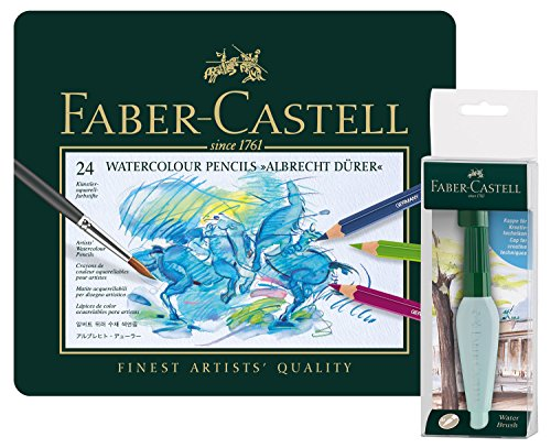 Faber-Castell 117590 Aquarellstifte Albrecht Dürer 24er Metalletui, Art und Graphic Wassertankpinsel