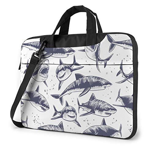 Adults Student Laptop Bag with 2 Pocket Protective Notebook Computer Protective Cover Anti-Collision Anti-Scratch Handbag for School College Black and White Sea Fish Shark Marine Wildlife