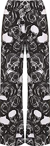 Women's Black Skull and Rose Palazzo Pants, Sizes 8 to 26