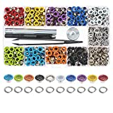 Multi-Color Grommets Kit 400 Sets 3/16 Inch, Lynda Metal Eyelets with 4 Pieces Installation Tools for Craft Making, Repair and Decoration.