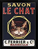 CANVAS ON DEMAND Savon Le Chat Black Black Framed Art Print, 21'x27'x1'