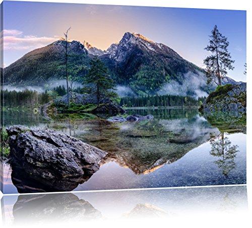 Pixxprint Sonnenaufgang am Hintersee als Leinwandbild   Größe: 120x80 cm   Wandbild   Kunstdruck   fertig bespannt