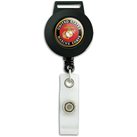 Field Artillery Officer Marine Corps MOS 0802 USMC US Marine Corps Military Round ID Badge Key Card Tag Holder Badge Retractable Reel Badge Holder with Belt Clip