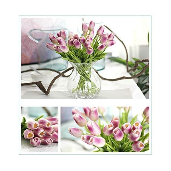 CQURE Flores artificiales, ramo de flores de imitación, tulipanes de seda reales al tacto para ramo de novia, decoración…