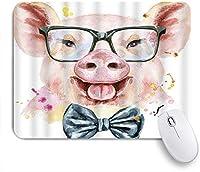NIESIKKLAマウスパッド 貯金箱かわいいメガネネクタイ動物愛らしい水彩素敵 ゲーミング オフィス最適 高級感 おしゃれ 防水 耐久性が良い 滑り止めゴム底 ゲーミングなど適用 用ノートブックコンピュータマウスマット