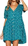 ECOWISH Women's V Neck Button Down Leopard Floral Dress Short Sleeves Loose Top Dresses with Pockets Green M