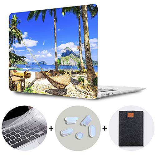 SDH for MacBook Air 13 Inch Case 2020 Release A2179 A1932 A2337 with Retina, Plastic Pattern Hard Shell & Laptop Sleeve Bag & Keyboard Cover for MacBook Air 13 with Touch ID, Beach Scenery 6