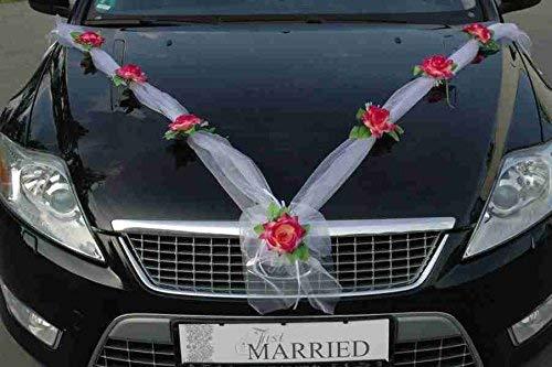 ORGANZA M Auto sieraden bruidspaar roos deco decoratie Organza M bruiloft auto wedding deco slinger auto (borgogd/wit)