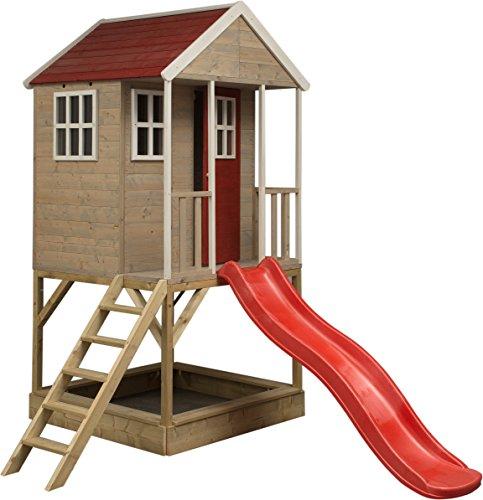 Wendi Toys Casetta di Legno su Piattaforma con altalene Singole per Bambini   Taglia M Bambini Tipo Aperto casa con Scivolo