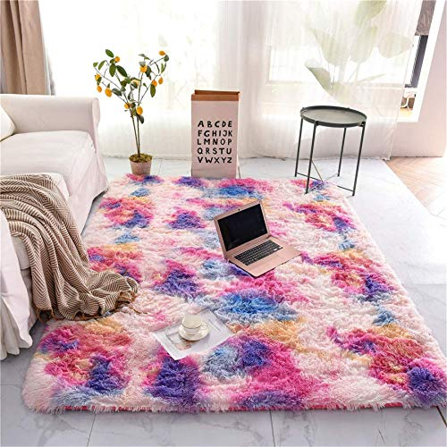 A Nice Night Shaggy Fluffy Faux Fur Area Rug Door Mat,Tie Dye Style,Soft, Luxurious Shag Carpet Rugs for Bedroom, Living Room, Luxury Bed Side Plush Carpets, Rectangle (Pink, 3' x 5')