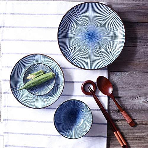 DJY-JY Juego de cubiertos retro japoneses creativos pintados a mano, cuenco de cerámica para ensalada, plato de arroz, plato de salsa, cuchara