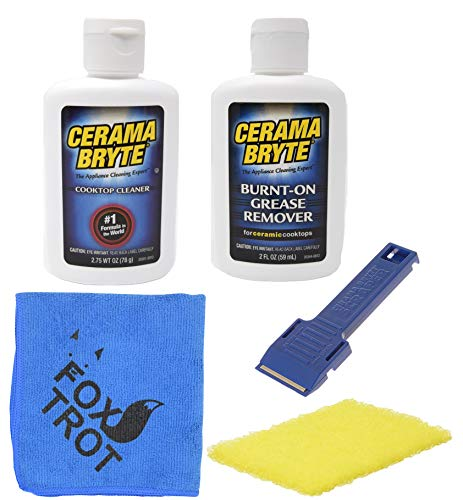 Cerama Bryte Complete Cooktop Cleaning Kit | Includes Cerama Bryte Cooktop Cleaner | Cerama Bryte Burnt On Grease Remover | Scraper Scrubber Combo | Foxtrot Microfiber