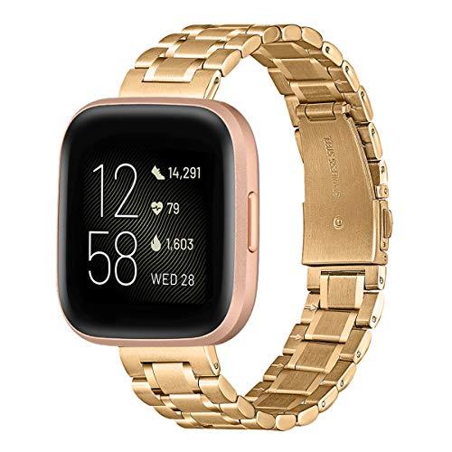 AOYU Kompatibel mit Fitbit Versa 2 Armband/Fitbit Versa/Versa Lite/Versa SE Armband, Schnellverschluss Edelstahl Metall Ersatz Armband (Golden)