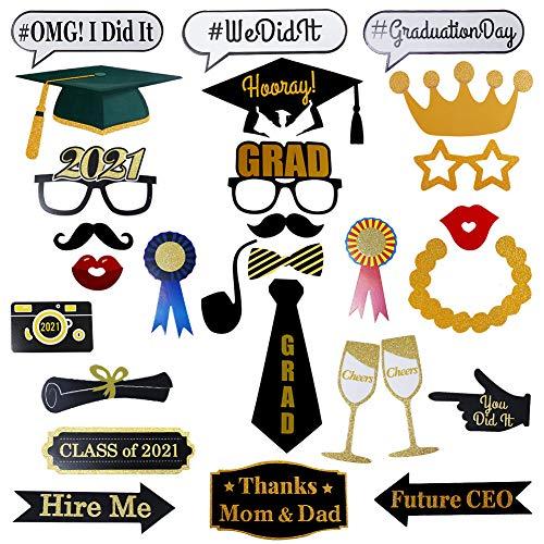 Hongyans Photo Booth Props Graduación 2021 DIY Accesorios Photocall Selfie Divertido Bigotes Labios Gafas Sombrero Cabina de Fotos para Decoración de Fiesta de Graduación Cumpleaños