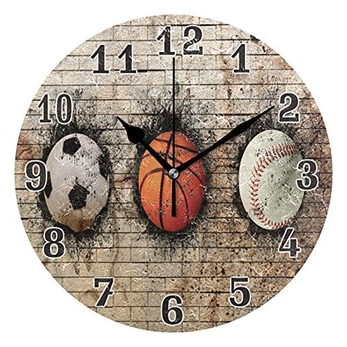 Lewiuzr Reloj de Pared Deporte Baloncesto Béisbol Fútbol Silencioso Reloj Redondo sin tictac para el hogar Sala de Estar Cocina Oficina Decoración de la Escuela