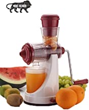RYLAN Hand Juicer for Fruits and Vegetables with Steel Handle Vacuum Locking System,Shake, Smoothies, Travel Juicer for Fruits and Vegetables,Fruit Juicer for All Fruits,Juice Maker Machine (Red)