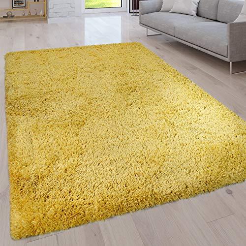 Paco Home Hochflor Wohnzimmer Teppich Waschbar Shaggy Uni In Versch. Größen u. Farben, Grösse:120x160 cm, Farbe:Gelb