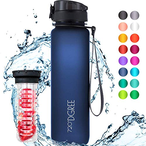 """720°DGREE Trinkflasche """"uberBottle"""" - 1 Liter, 1000ml, Blau - Neuartige Tritan Wasser-Flasche - Water Bottle BPA Frei - Ideale Sportflasche für Kinder, Fitness, Fahrrad, Sport, Fussball"""
