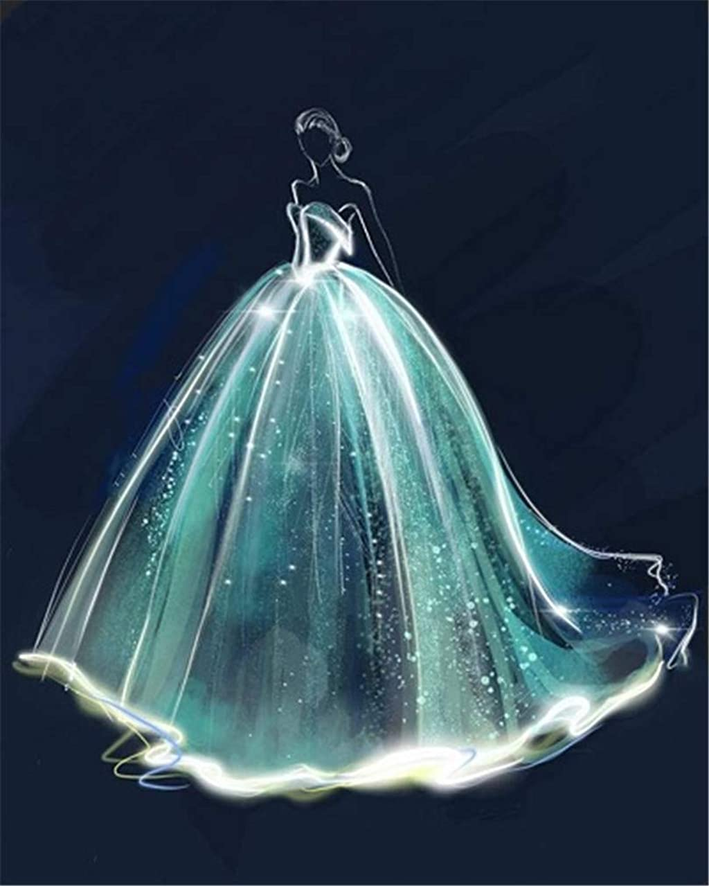 YEESAM ART DIY Paint by Numbers for Adults Beginner Kids, Fairytale Dreamy Glowing Wedding Dress 16x20 inch Linen Canvas Acrylic Stress Less Number Painting Gifts (Dress, Without Frame)