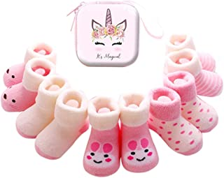 6 Pares Calcetines Recien Nacido niño Calcetines de recién nacido Calcetines bebe niña Invierno 0-36 Meses Monedero Infantil de Dibujos Animados