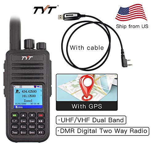 TYT MD-UV380 with GPS MD380 VHF/UHF 136-174Mhz/400-480Mhz MD-380 Dual Band Handheld Two Way Radio + Programming Cable
