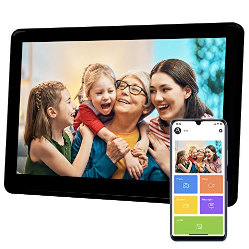 Atatat Digital Picture Frame WiFi 10 inch with 1920x1080 IPS Touch Screen, Share Photos & Videos Instantly via APP Email, Auto-Rotate, Wall-Mountable, Portrait and Landscape Digital Frames Picture