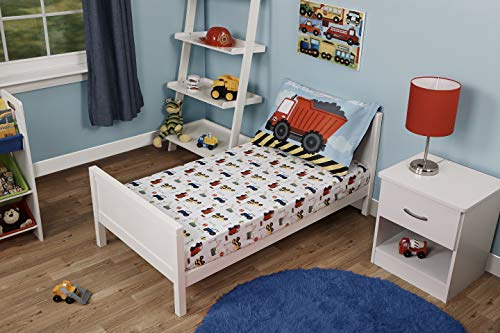 Funhouse Toddler Bed Sheet Set - Includes Fitted Sheet and Pillowcase Set - Construction Trucks Design for Boys Bed, Pack of 2