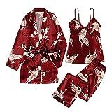 DOSN Conjunto de pijama para mujer con estampado de grúas, pijama corto y volador, pijama, kimono, túnica, corto, túnica, para mujer, estampado Vino M