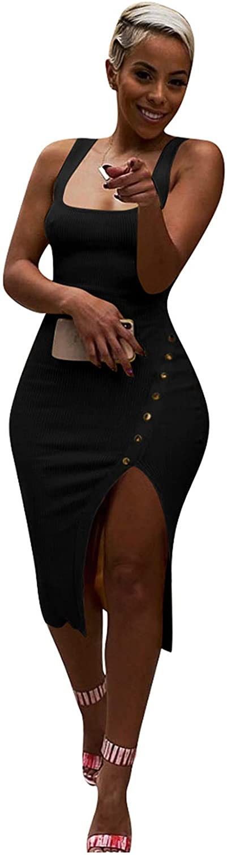 Salimdy Womens Sexy Soild Sleeveless Strap Tank Ribbed Buttons Side Split Bodycon Irregular Long Pencil Midi Dress
