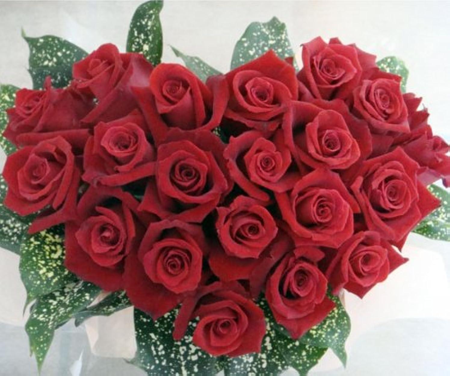 レタス返済窒素赤バラのハートアレンジ 信州諏訪産バラ使用