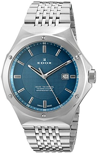 Edox 53005 3M BUIN Delfin Display analogico al quarzo svizzero argento...