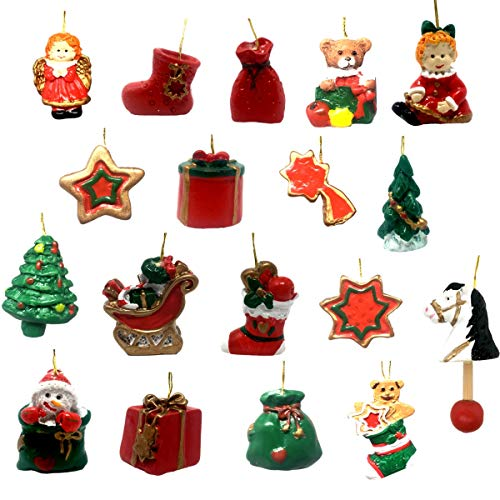 BANBERRY DESIGNS Mini Christmas Ornament Figurines - Set of 18 Miniature Ornaments for Small Trees or Christmas Countdown - Assorted Designs Stocking, Santa's Sleigh, Stars and Teddy Bears