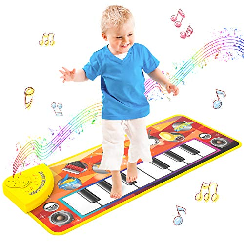 LET'S GO! Kids Musical Mats Toys for 3-6 Year Old Boys Girls,Early Education Pre-Kindergarten Toys for Toddlers Baby Dance Floor Mat Carpet Piano Keyboard Touch Playmat for Kids - Best Gifts