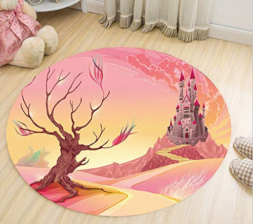 YuQiang Stylishly Cushioned Modern Cartoon Circular Carpet Living Room Bedroom Bedside Personality Non-Slip Foot Cushion Ceiling Basket Basket Basket Chair Computer Chair Blanket,180cm*180cm