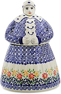 Polish Pottery 70 oz Woman Shaped Jar (Wave of Flowers Theme) + Certificate of Authenticity