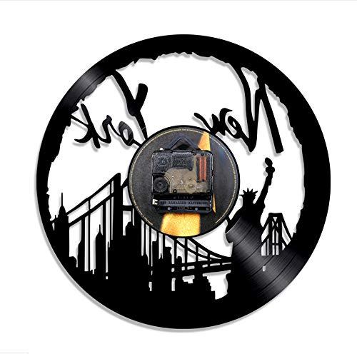 Knncch 1 Pièce New York Cityscape Disque Vinyle Horloge Murale Horizon Statue De La Liberté Art Mural Disque Vinyle Horloge USA Voyage Cadeau Souvenir
