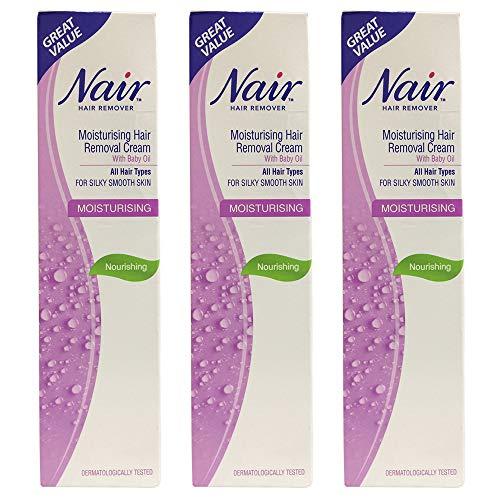 Crème dépilatoire hydratante Nair avec huile pour bébé 80 ml - Tous types de cheveux - Choisissez la quantité (Lot de 3)
