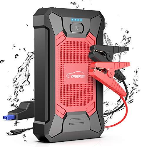 YABER Booster Batterie, 800A 12000mAh IP66 Étanche Booster de Batterie Voiture Moto (Jusqu'à 5,0L de Essence 4,0L Diesel) Robuste Jump Starter avec USB et Lamp LED, Kit Pinces Crocodiles, UL Certifié