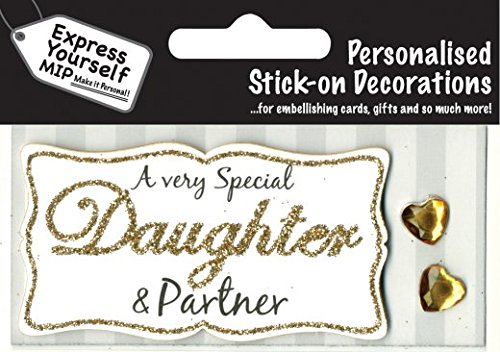 Gold Daughter & Partner DIY Greeting Card Toppers Personalise Cards Yourself