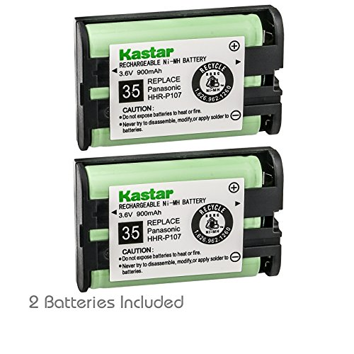 Kastar Battery 2-Pack Type 35 Cordless Telephone Battery for Panasonic HHR-P107 HHR-P107A HHR-P107A/1B BB-GTA150 BB-GT1500B KX-TG6021M KX-TG6022B KX-TG6023M KX-TG6053 KX-TG6054 KX-TG6071 KX-TG6072